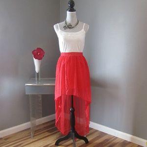 NEW Olsenboye Red White Polka Dot High Low Skirt M